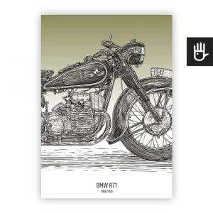Plakat poster BMW R71 oliwka