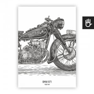 poster Plakat bmw r-71 bialy