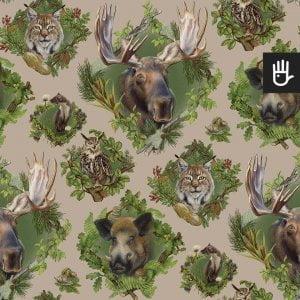 wzór tapety strażnicy lasu z leśnymi zwierzętami na beżowym tle