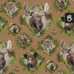 wzór tapety strażnicy lasu z leśnymi zwierzętami na brązowym tle