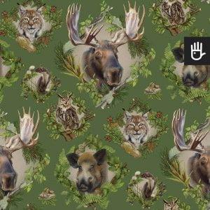 wzór tapety strażnicy lasu w leśne zwierzęta na zielonym tle