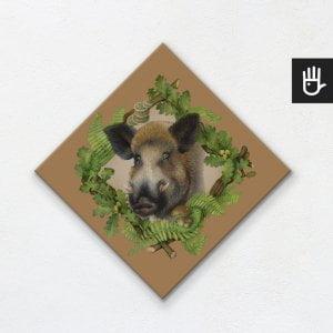 Obraz na płótnie dla dzieci z ilustracją dzika w otoczeniu liści dębu i paproci na jasnobrązowym tle