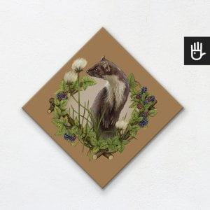 obraz na płótnie z kuną na brązowym tle z leśnej kolekcji strażnicy lasu