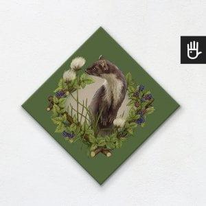 obraz na płótnie z kuną na zielonym tle z leśnej kolekcji strażnicy lasu