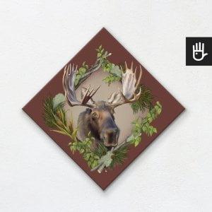 obraz na płótnie z łosiem na bordowym tle z leśnej kolekcji strażnicy lasu