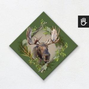obraz na płótnie z łosiem na zielonym tle z leśnej kolekcji strażnicy lasu
