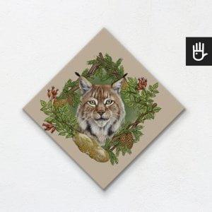 obraz na płótnie ryś na beżowym tle z leśnej kolekcji strażnicy lasu