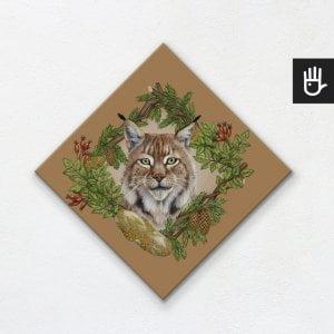 Obraz na płótnie dla dzieci z ilustracją rysia z dziką różą i świerkiem na brązowym tle