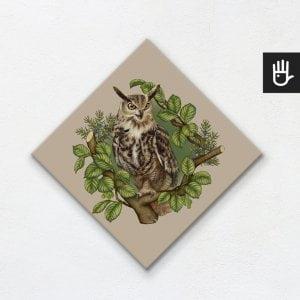 obraz na płótnie sowa na beżowym tle z leśnej kolekcji strażnicy lasu