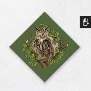 obraz na płótnie sowa na zielonym tle z leśnej kolekcji strażnicy lasu