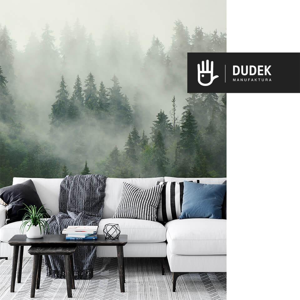 wnętrze salonu z białą kanapą na tle fototapety las we mgle