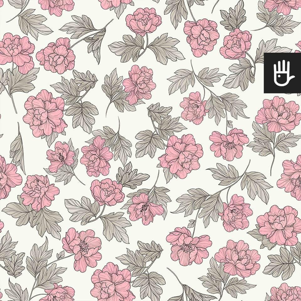 wzór tapety w różowe piwonie w stylu romantycznym na kremowym tle