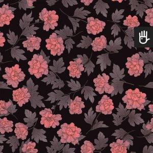 wzór tapety w różowe piwonie w stylu orientalnym na czarnym tle