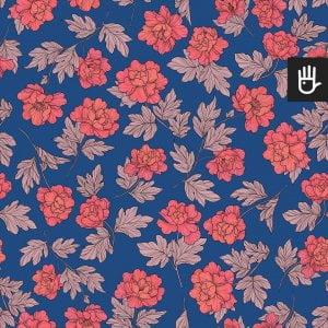 wzór tapety w koralowe piwonie w stylu retro na niebieskim tle