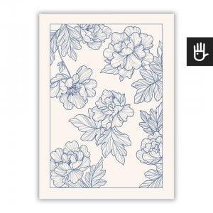 Plakat kwiaty piwonii w kolorze niebieskim na kremowym tle