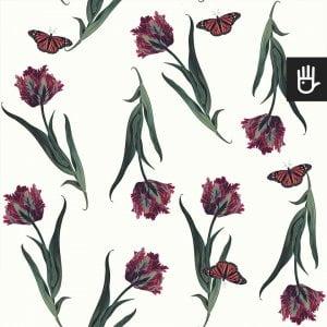 Tapeta Biały Tulipan z kwiatami i motylami na jasnobeżowym tle