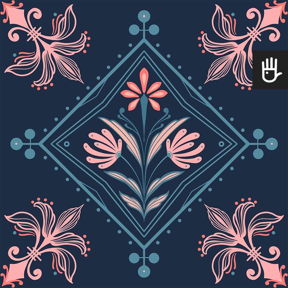 wzór tapety kolorowa Kopenhaga z różowo-niebieskim wzorem na granatowym tle