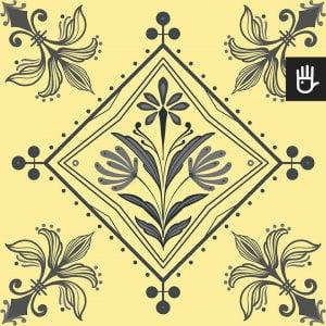 Wzór tapety kolorowe Ateny z szarym wzorem geometrycznym na żółtym tle
