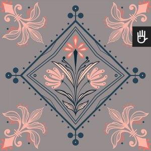 wzór tapety kolorowy Mediolan z różowo-morskim wzorem na szarym tle