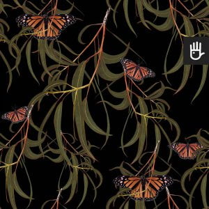 wzór tapety czarne motyle w liściach na czarnym tle