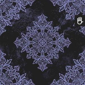 Tapeta Czarny Paryż z fioletowym motywem na czarnym tle