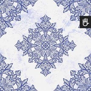 Tapeta niebieska Lizbona z niebieskim wzorem na białym tle