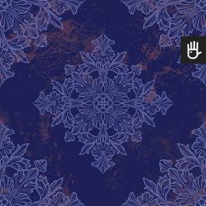 Tapeta niebieski Wiedeń z niebieskim wzorem na granatowym tle
