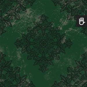 tapeta zielony londyn z czarnym ornamentem na ciemnozielonym tle