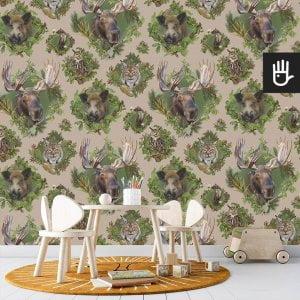 pokój zabaw dziecka z beżową tapetą Strażnicy lasu z leśnymi zwierzakami