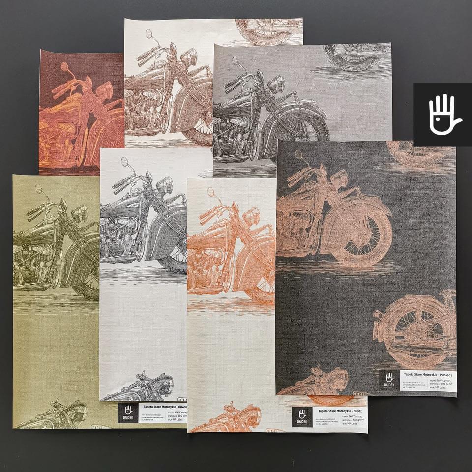 próbki tapet z motocyklami w kolorze stal, miedź, brąz, ołów, mosiądz, rdza, oliwka na teksturze płótna