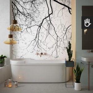 fototapeta gałęzie na wietrze w kolorze czarnym i szarym na białym tle na ścianie w łazience nad stylową wanną