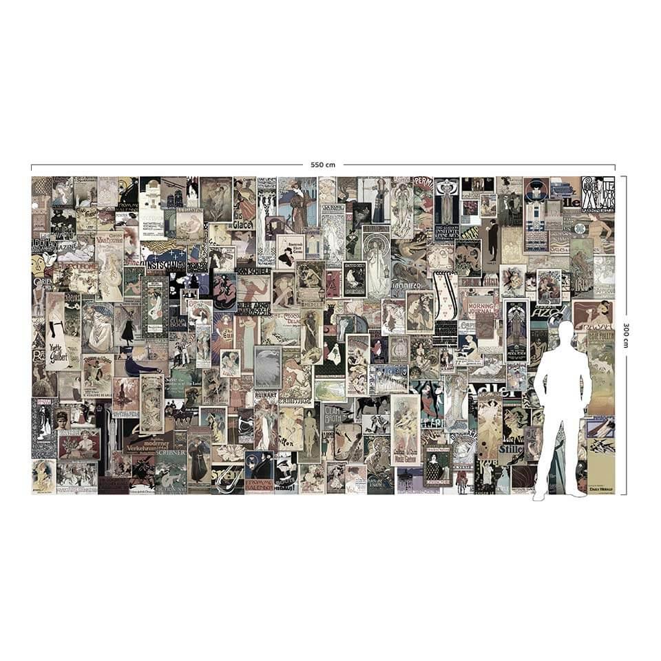 Wizualizacja skali fototapety w porównaniu do postaci dorosłego człowieka