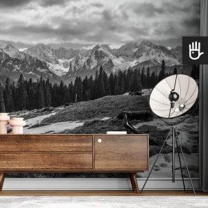 wnętrze nowoczesnego salonu z brązową komodą na tle fototapety Polskie Tatry