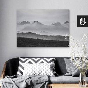 wnętrze salonu z obrazem na płótnie Szczyty w chmurach, który wisi na ścianie za kanapą z poduszkami