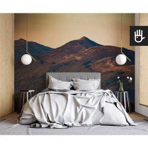 nowoczesna sypialnia w stylu naturalnym z fototapetą Połonina Wetlińska na ścianie za łóżkiem