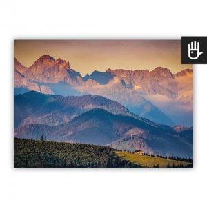 Plakat Panorama Tatr z widokiem gór w tonacji błękitu i złota