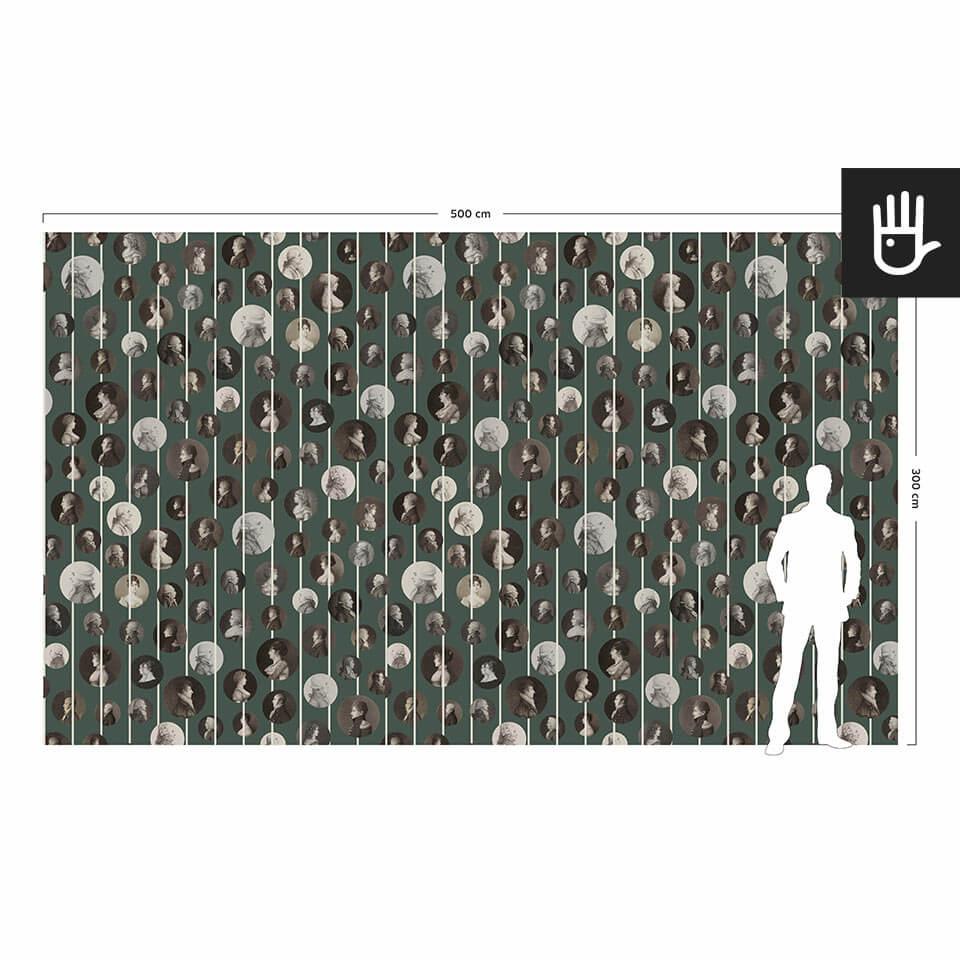 Wizualizacja skali tapety ściennej w porównaniu do postaci dorosłego człowieka