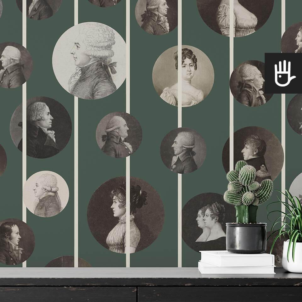 Detal tapety ściennej Arystokraci - rustykalna zieleń