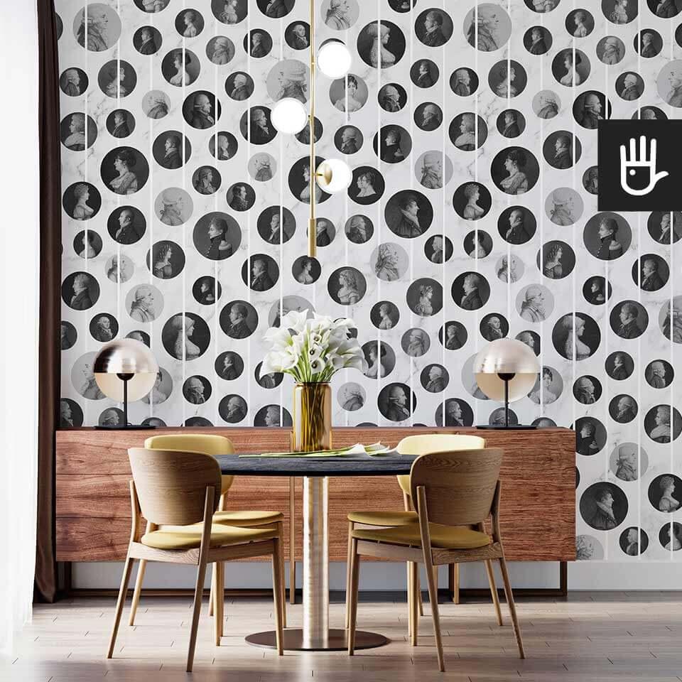 Wnętrze salonu z okrągłym stołem i komodą na tle tapety Arystokraci - biały marmur
