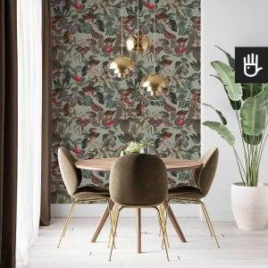 tapeta liscie tropikalne oliwkowa zielen na scianie w salonie