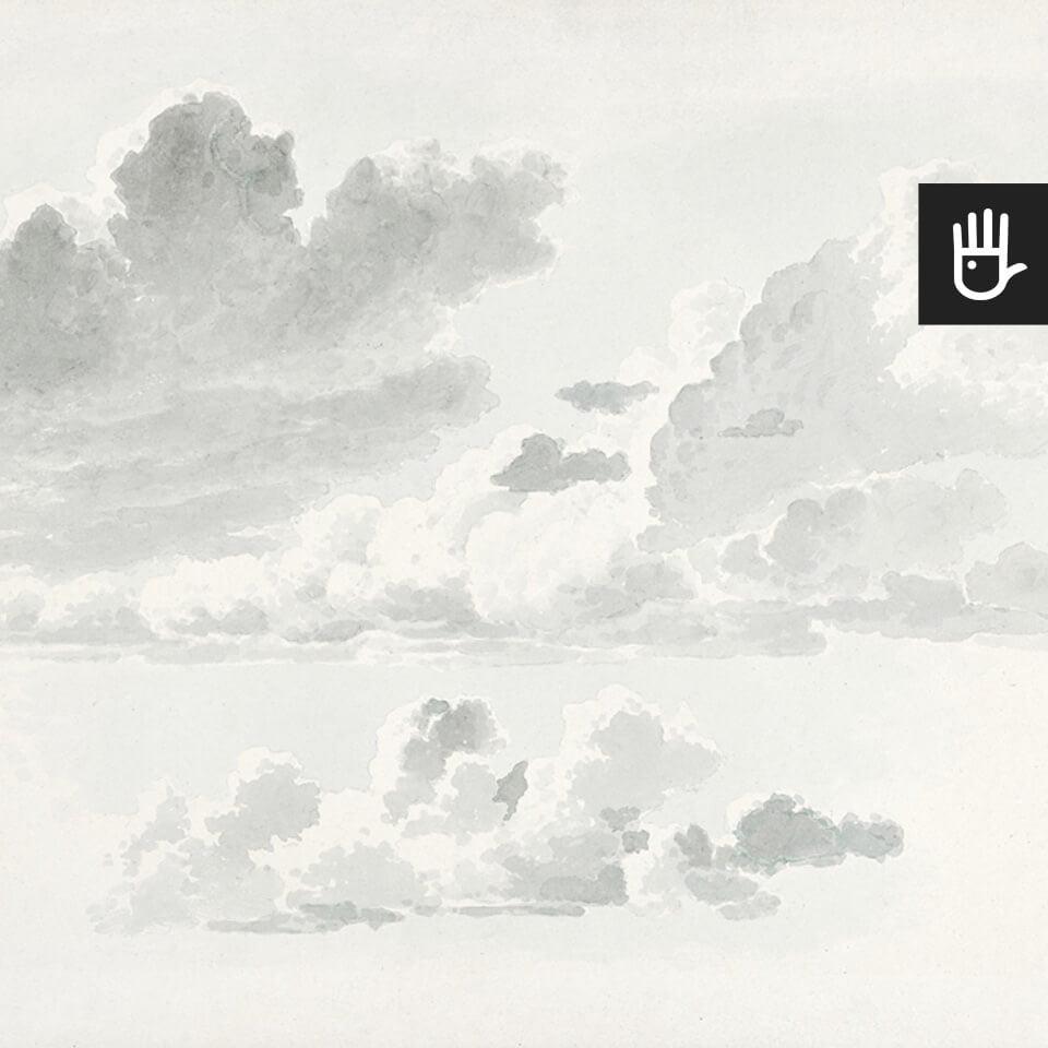 Fototapeta Akwarelowe obłoki z malarskim studium chmur w pastelowej tonacji