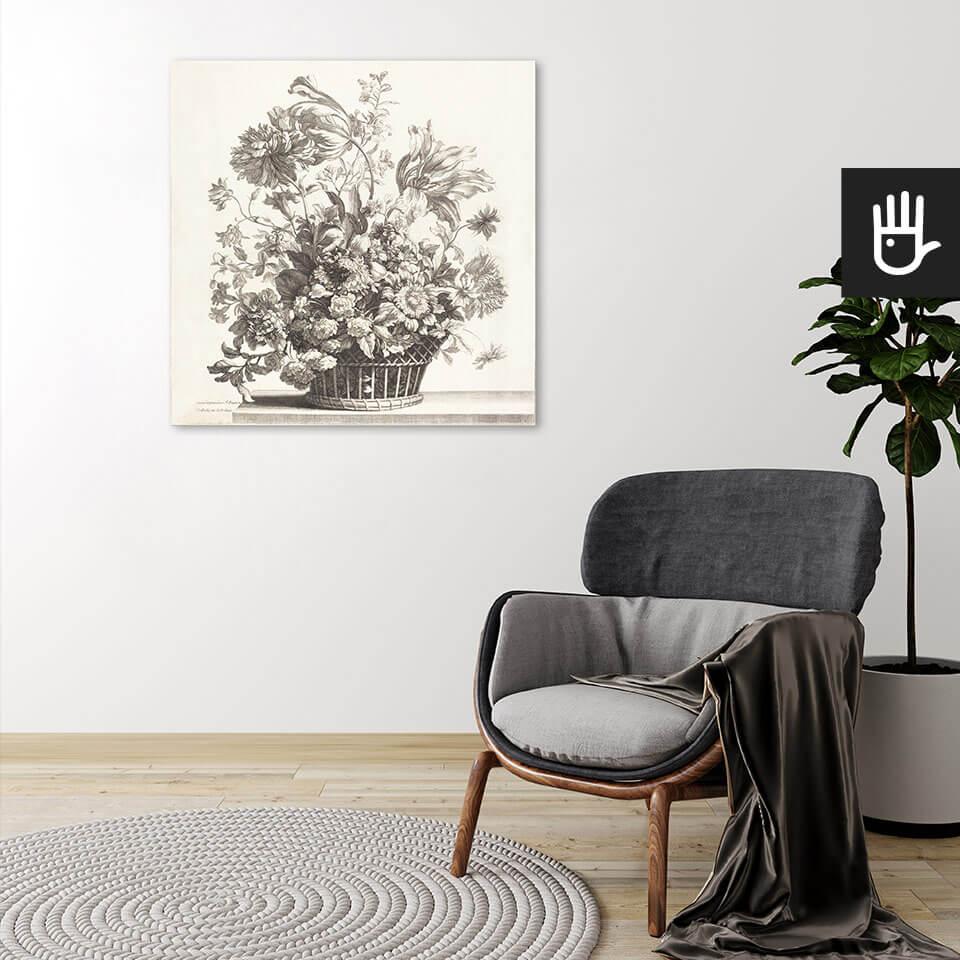 Wnętrze z obrazem na płótnie Kosz wiosennych kwiatów autorstwa Jean-Baptiste Monnoyer
