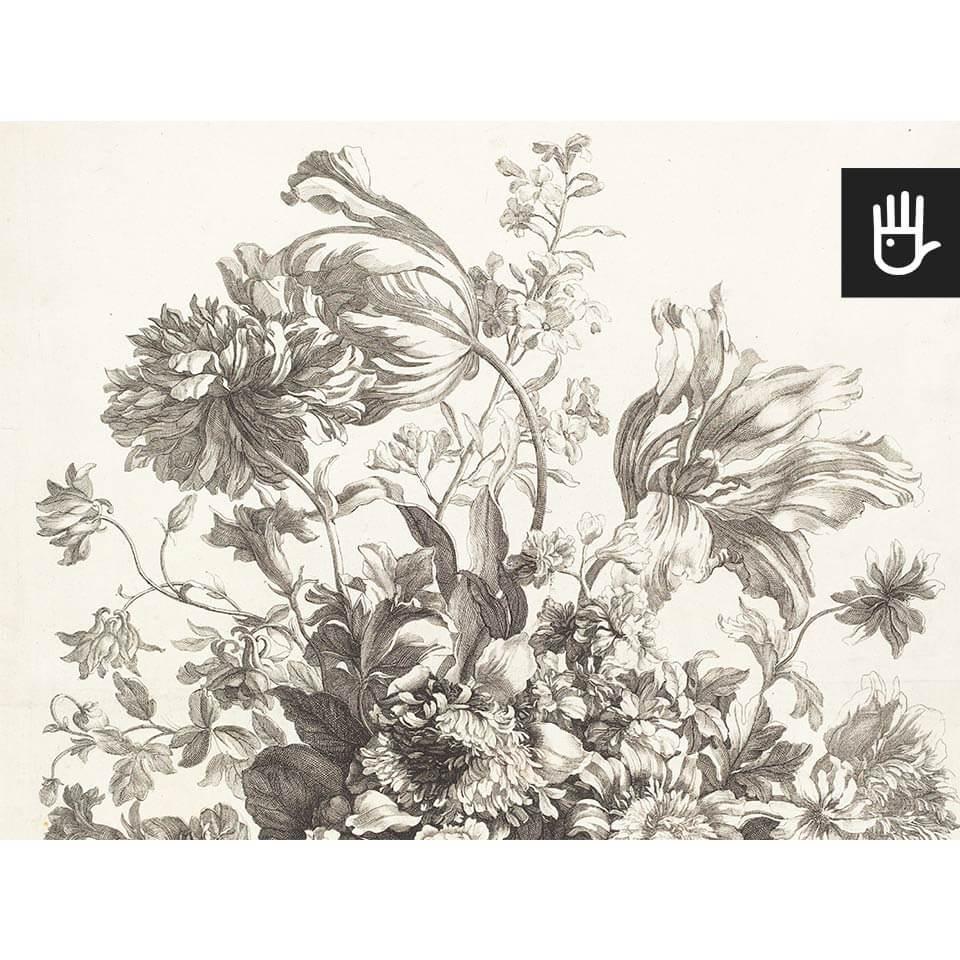 Widok fototapety kosz wiosennych kwiatów z grafiką z epoki baroku w beżowej tonacji