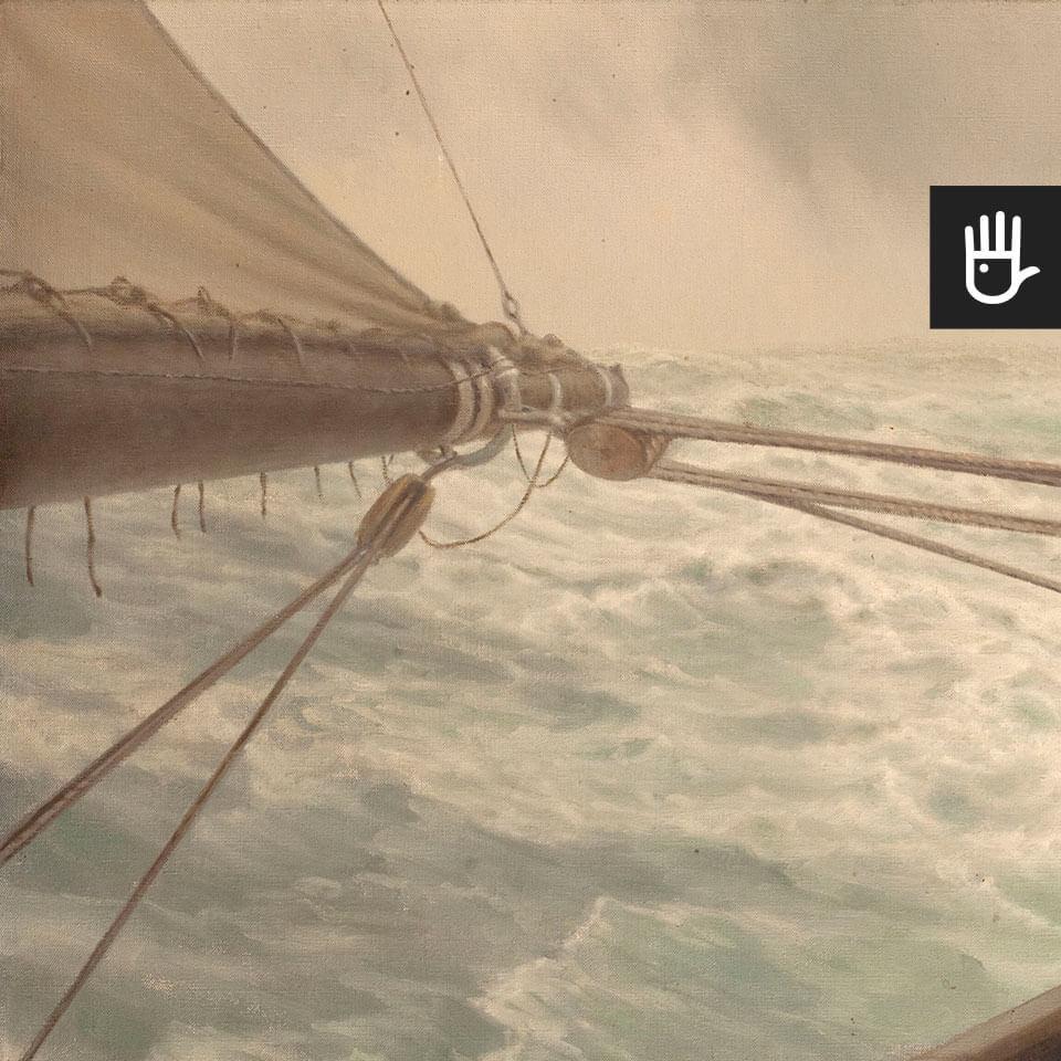 Fototapeta Na wzburzonym morzu ze statkiem na falach
