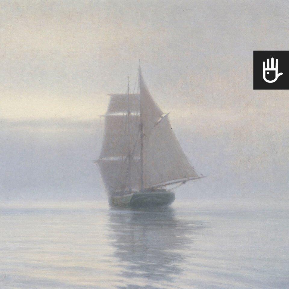 fototapeta Spokojna symfonia szarości z żaglowcem na morzu w stylu marynistycznym