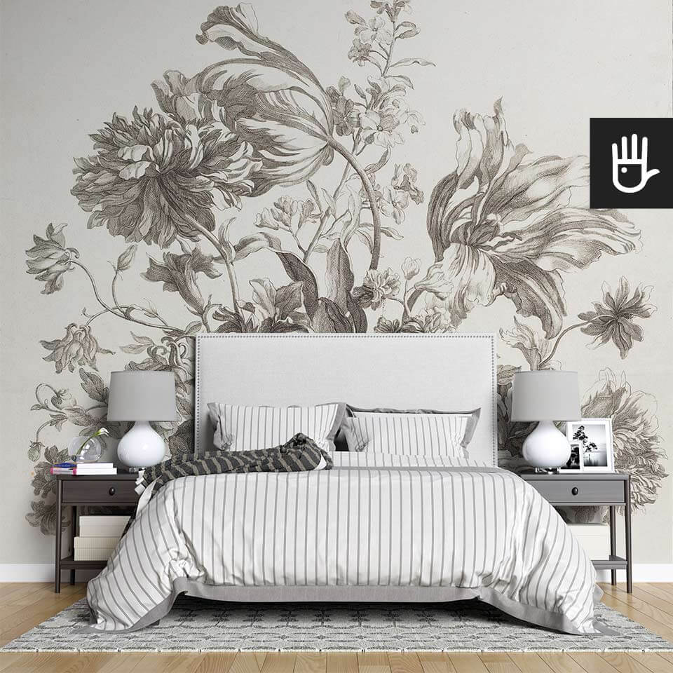 Stylowa sypialnia z fototapetą Kosz wiosennych kwiatów ze stylizowanymi kwiatami barokowego mistrza malarstwa
