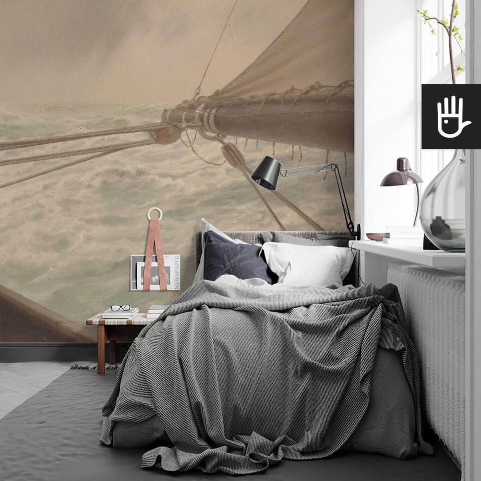 Sypialnia młodzieżowa singla z fototapetą Na wzburzonym morzu w stylu nadmorskim na ścianie