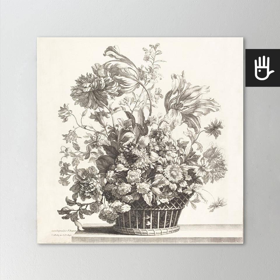 Obraz Kosz wiosennych kwiatów drukowany na płótnie bawełnianym w odcieniach beżu
