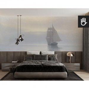 Elegancka sypialnia z tapetą Spokojna symfonia szarości w kolorach pastelowych w stylu marynistycznym