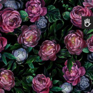Tapeta Malowane kwiaty w ciemnej kolorystyce